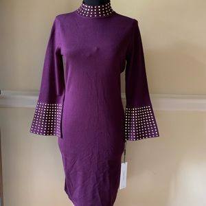 Calvin Klein Fitted Flare Sleeve Knit Dress, Small